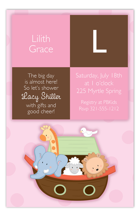 Noahs Ark Girl Squares Invitation