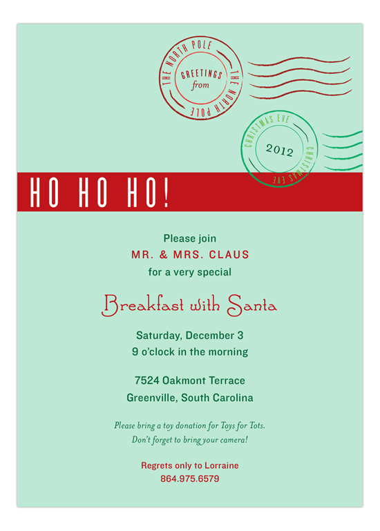 North Pole Greetings Invitation