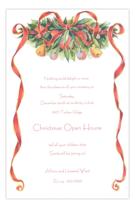 Ribbon Red Holiday Party Invitation