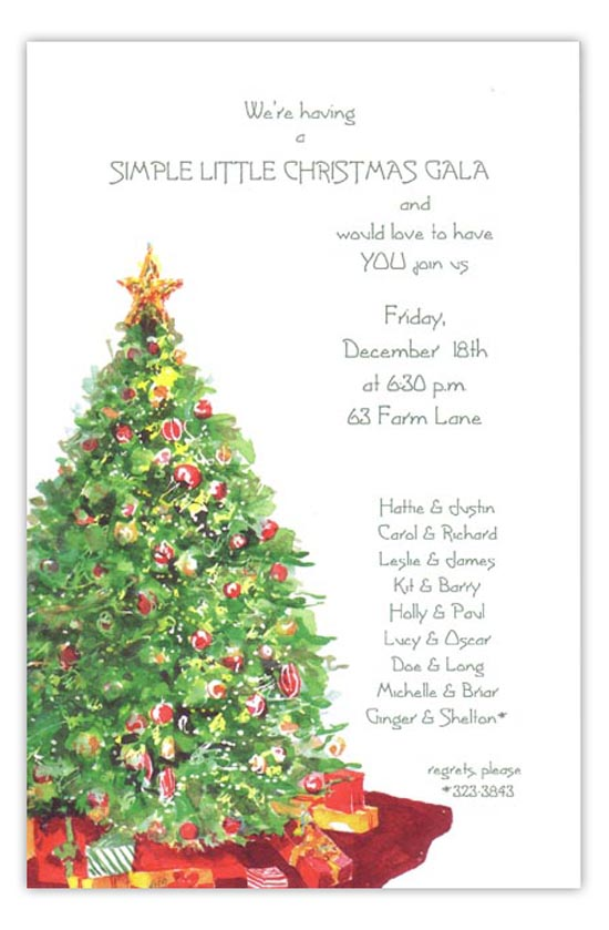 Traditional Tree Holiday Party Invitation