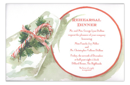 Peppermint Placesetting Rehearsal Dinner Invitation