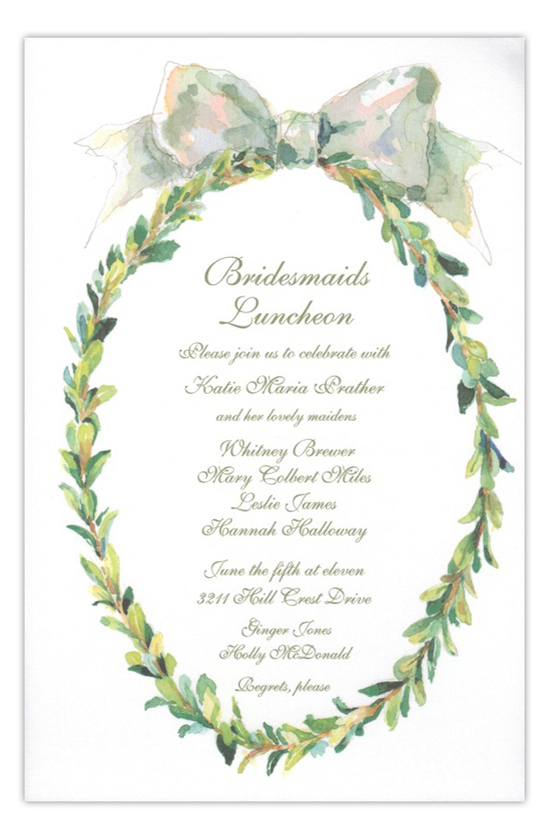 Boxwood Wreath Holiday Bridal Invitation