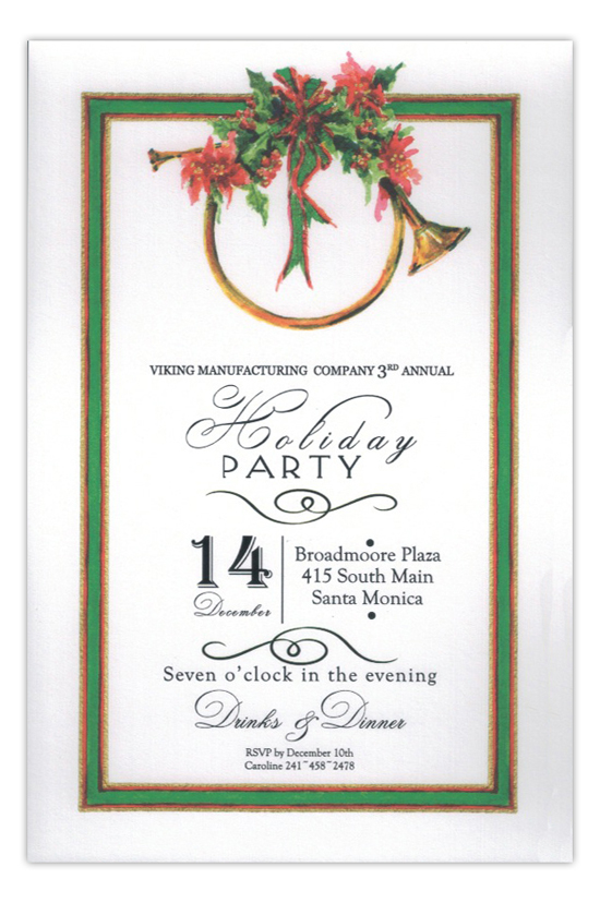 Christmas Horn Holiday Party Invitation