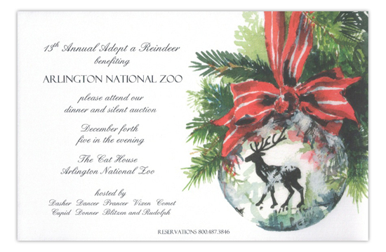 Oh Deer Ornament Holiday Invitation