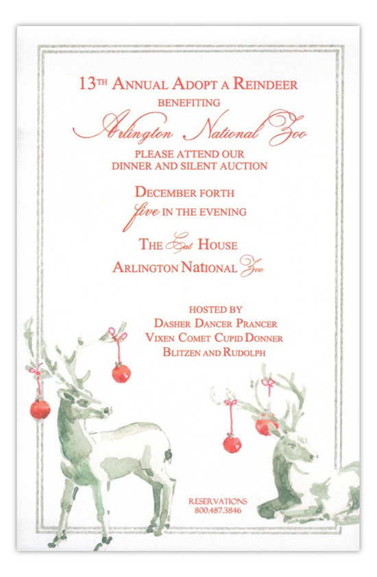 Silver Stags Reindeer Holiday Invitation