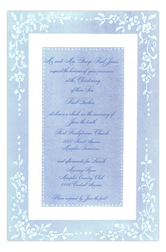 Counterpane Blue Formal Party Invitation