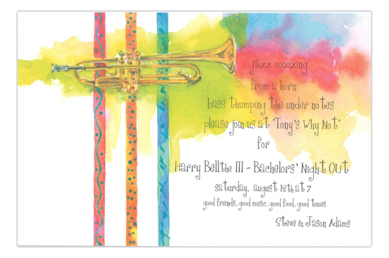 Hot Blues Trumpet Party Invitation
