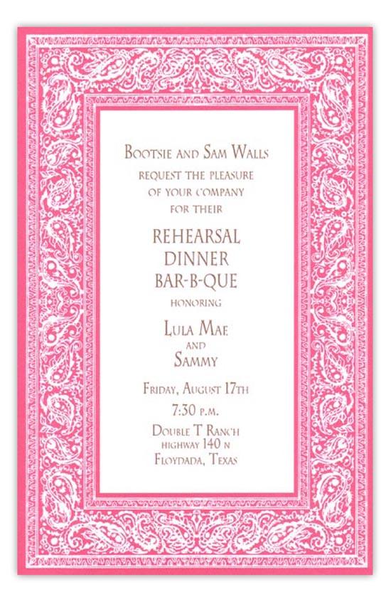 bandana pink summer cookout invitation