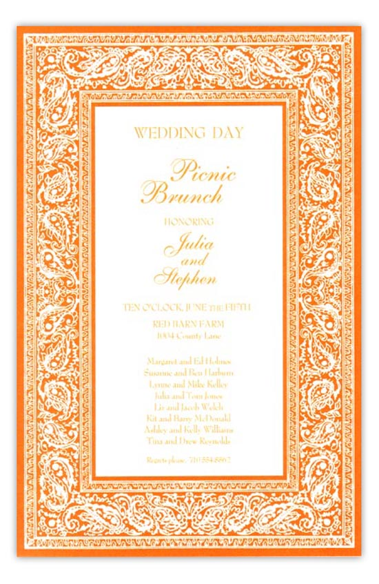 Bandana Orange Summer Cookout Invitation