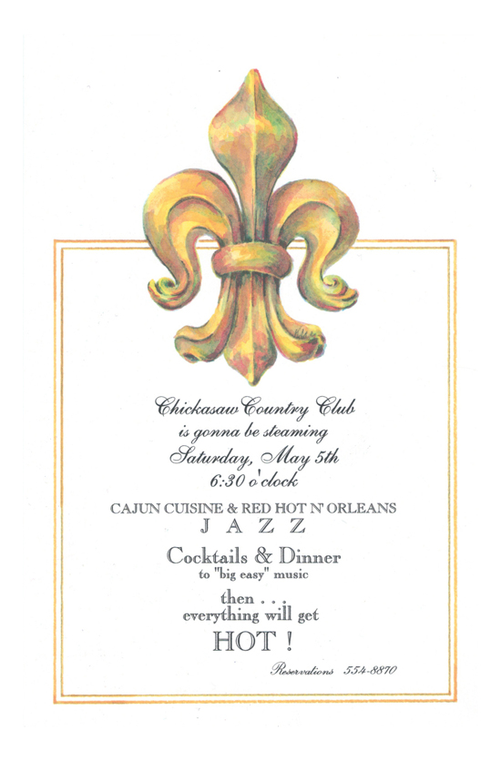 Red Hot New Orleans Fleur De Lis Invitation