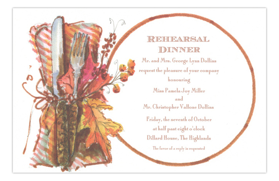 Harvest Supper Formal Rehearsal Dinner Invitation