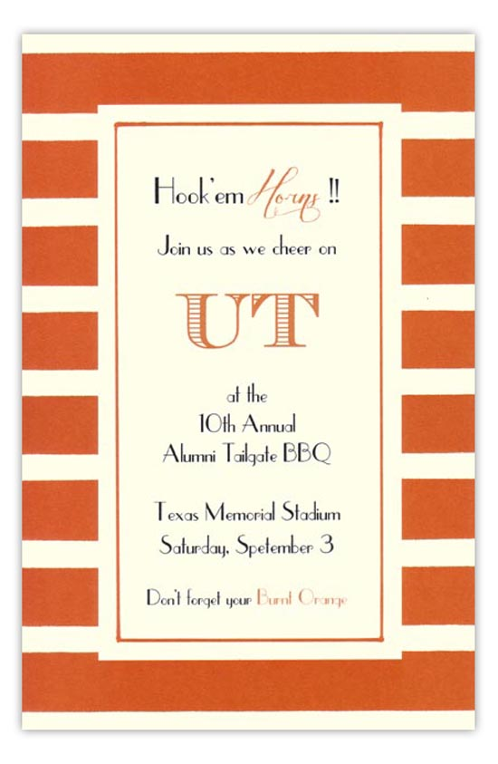 Burnt Orange and White Invitation