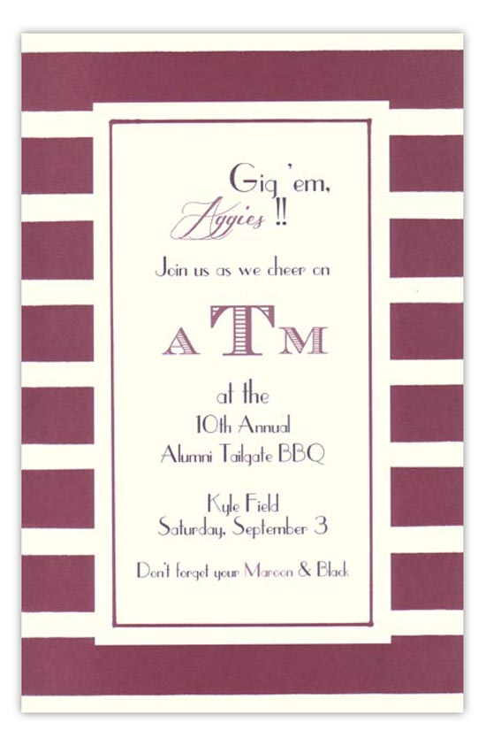 Maroon and White Invitation