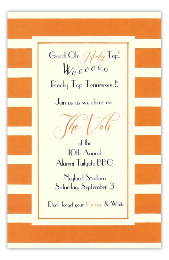 Orange and White Invitation