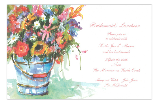 Blue Bucket Bridesmaids Luncheon Invitation