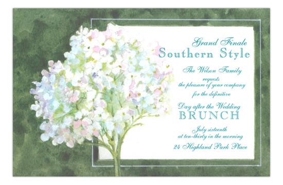 White Hydrangea Wedding Brunch Invitation