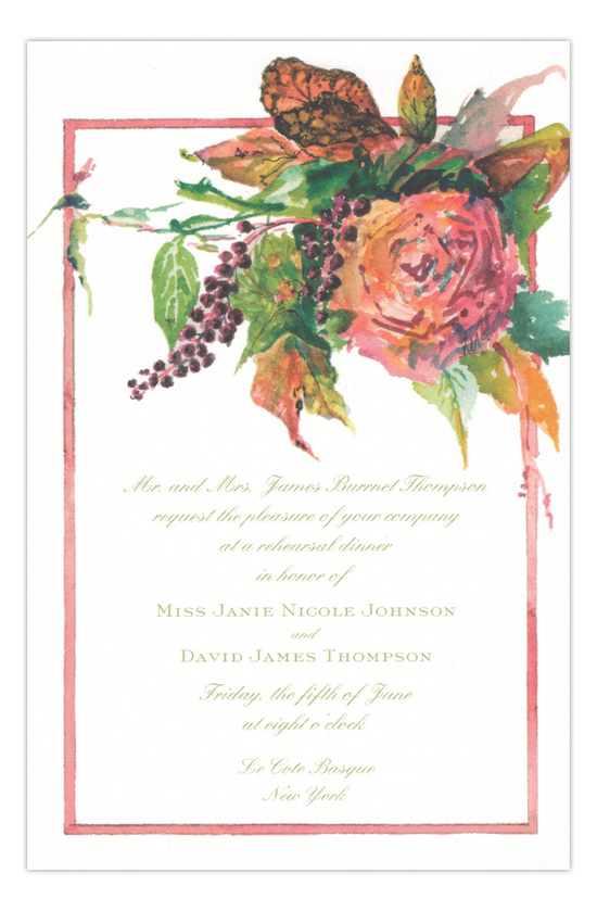 Polkberries and Rose Formal Party Invitation