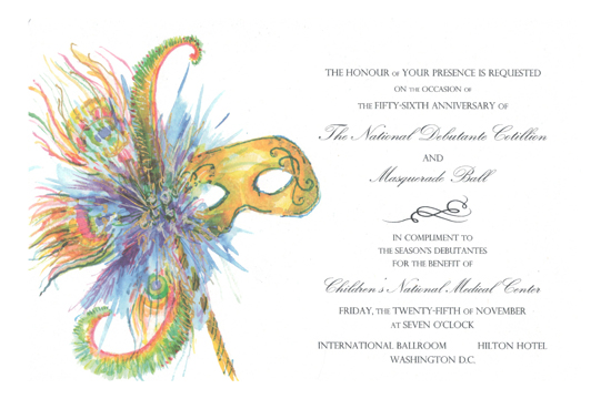 Feather Finery Mask Invitation