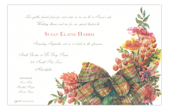 Sage Plaid Bow Formal Party Invitation