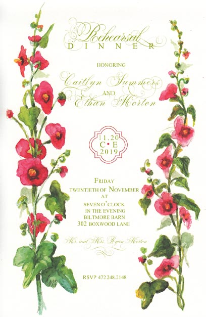 Hollyhocks Invitation