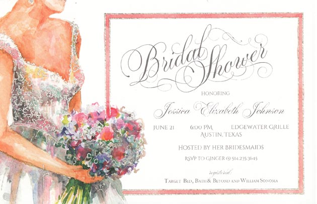 Babys Breath and Roses Bridal Shower Invitation