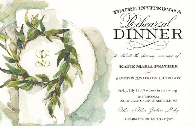 Crisp Linen Invitation Invitations For A Bridal Rehearsal Dinner