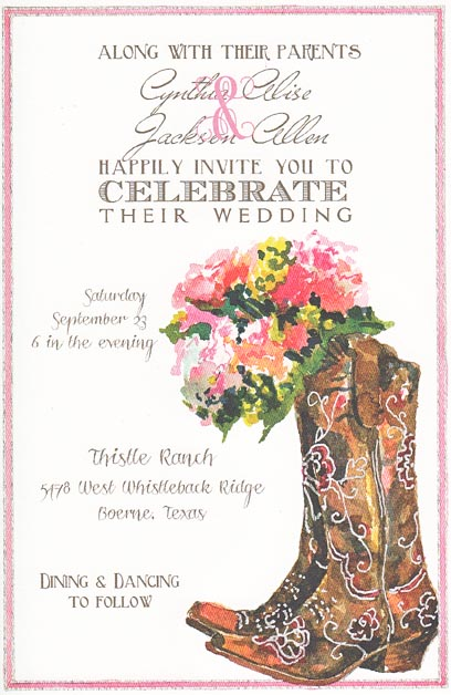 Boots and Bouquet Floral Invitation