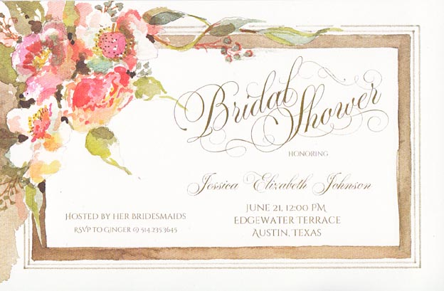 Sketch in Taupe Floral Invitation