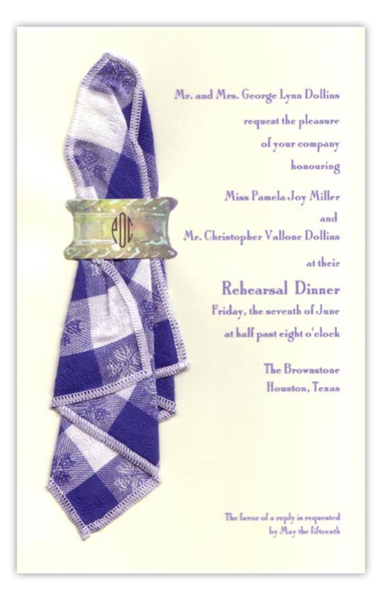 Napkin Blue Summer Cookout Invitations