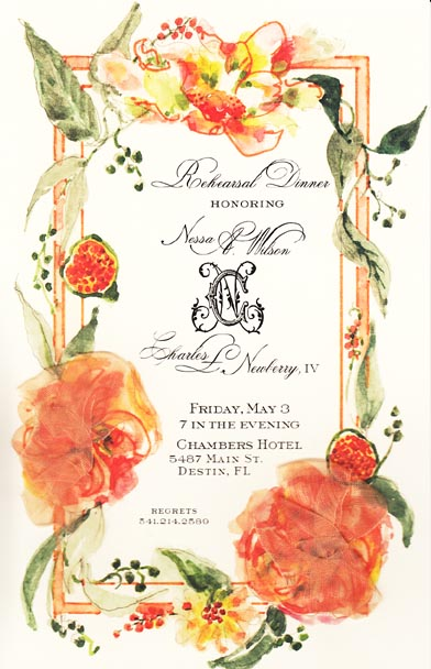 Eucalyptus and Apricot Invitation
