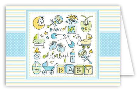 Oh Baby Boy Folded Note Card