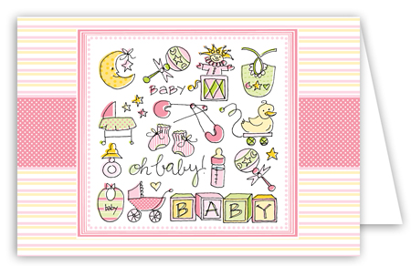 Oh Baby Girl Folded Note Card