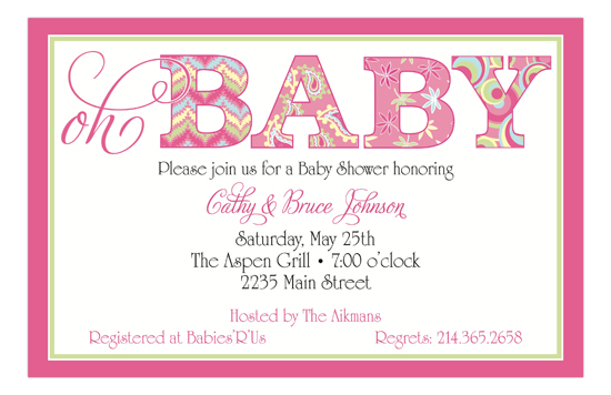 Oh Baby Pink Invitation