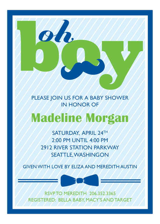 oh boy baby shower invitation polka dot design