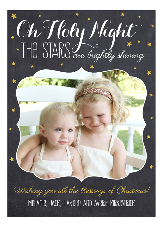 Oh Holy Night Chalkboard Photo Card