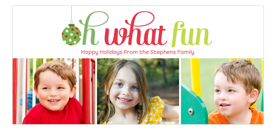 Oh What Fun 3 Photo Family Holiday Cards