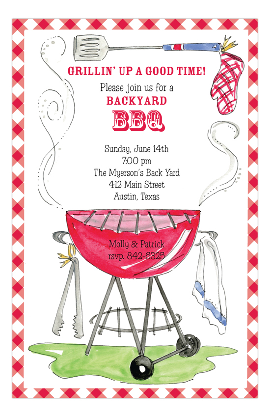 On The Grill Summer Cookout Invitations