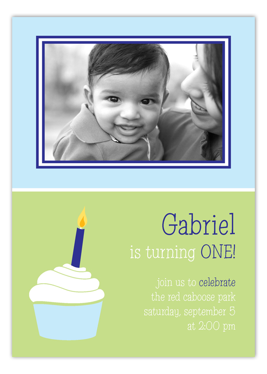 One Blue Cupcake Candle Photo Invitation
