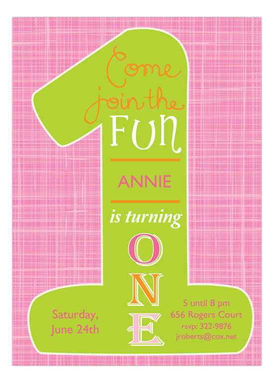 Pink Hatch Green One Fun Pink First Birthday Invitations