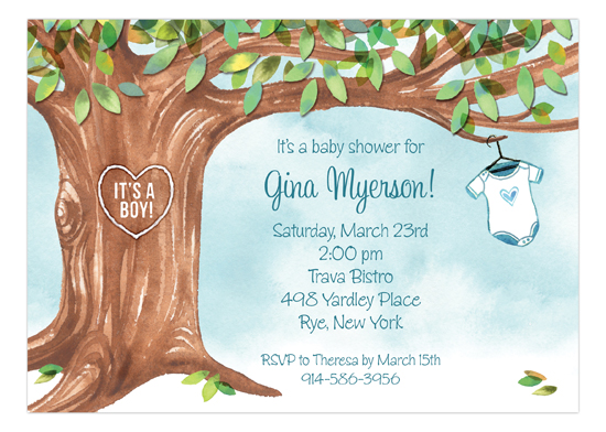 Onesie Tree Blue Invitation