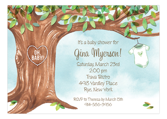 Onesie Tree Green Invitation