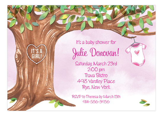 Onesie Tree Pink Invitation