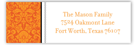 Orange Halloween Damask Address Label
