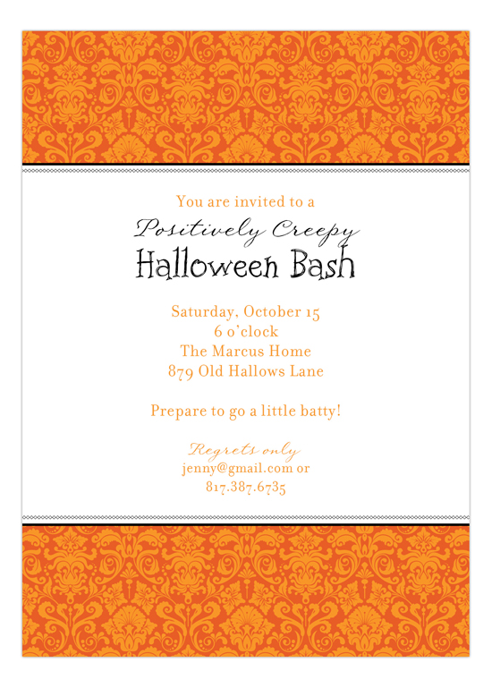 Orange Halloween Damask Invitation