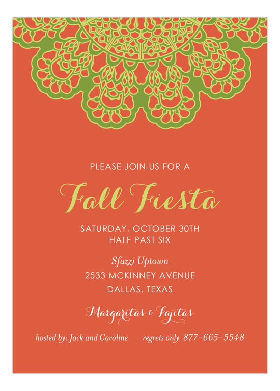 Orange Vintage Lace Fiesta Invitation
