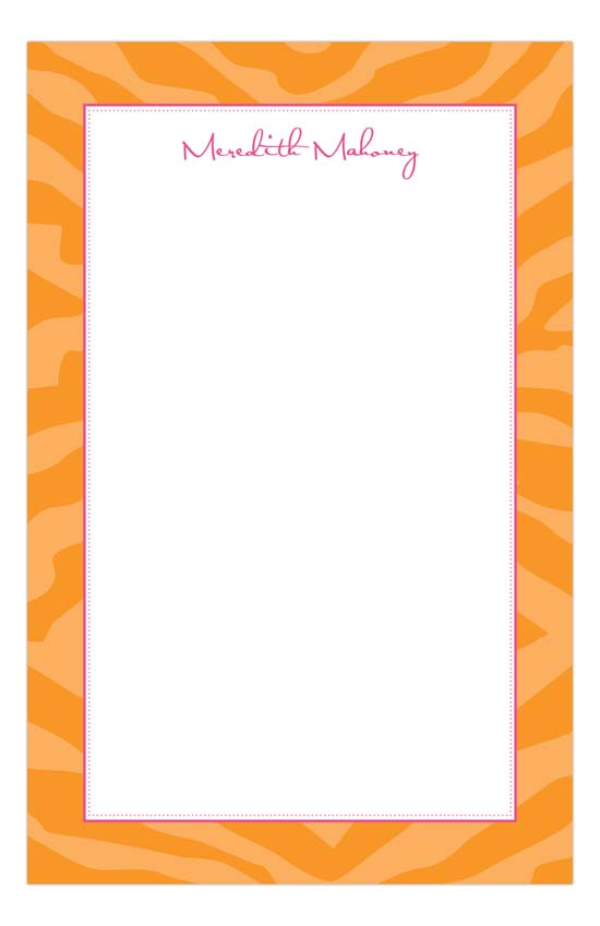 Orange Zebra Stripes Notepad