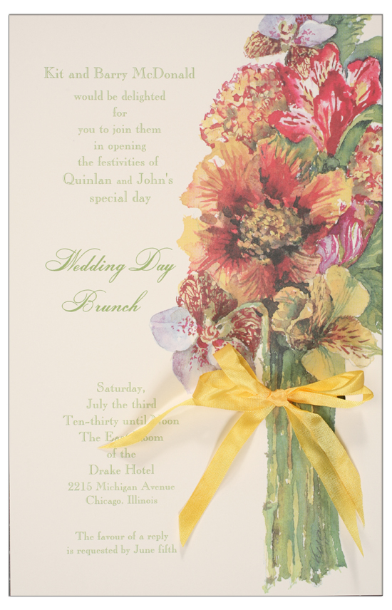 Orchid and Gold Invitation