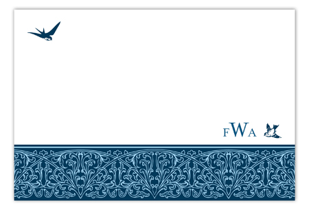 Ornamental Birds Blue Flat Note Card