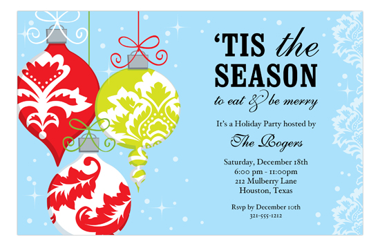Ornaments on Blue Invitation