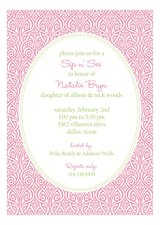 Ornate Floral Pink Invitation